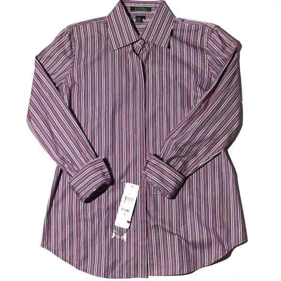 94671aa1be6e Lauren Ralph Lauren Purple Striped Dress Shirt